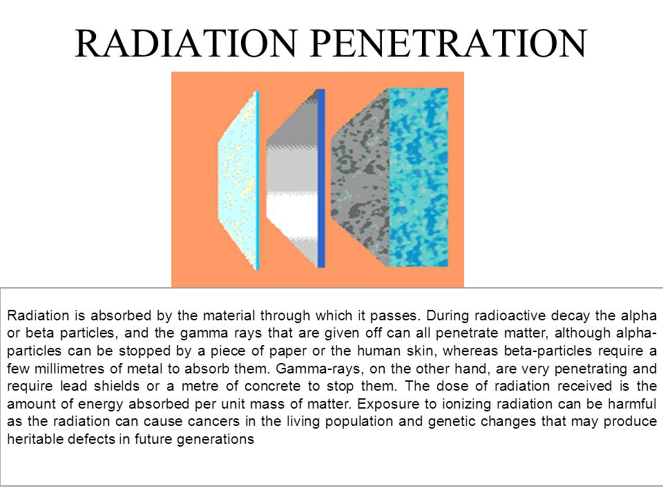 RADIATION PENETRATION Radiation is absorbed by the material through which it passes.
