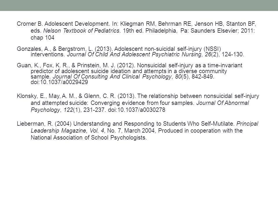 Cromer B. Adolescent Development. In: Kliegman RM, Behrman RE, Jenson HB, Stanton BF, eds. Nelson Textbook of Pediatrics. 19th ed. Philadelphia, Pa: S