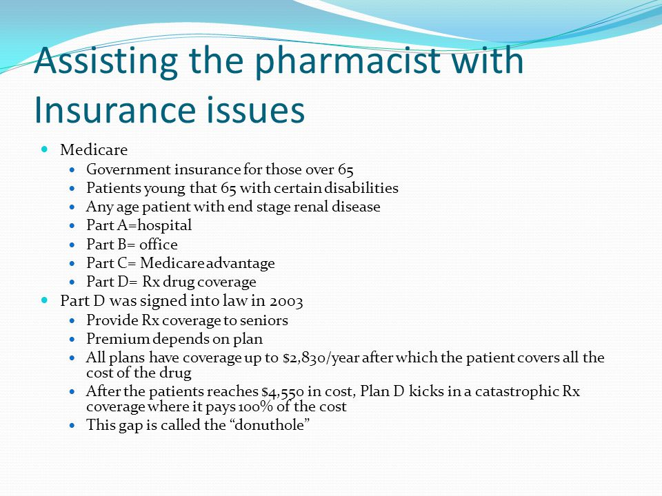 Assisting the pharmacist with Insurance issues Medicare Government insurance for those over 65 Patients young that 65 with certain disabilities Any ag