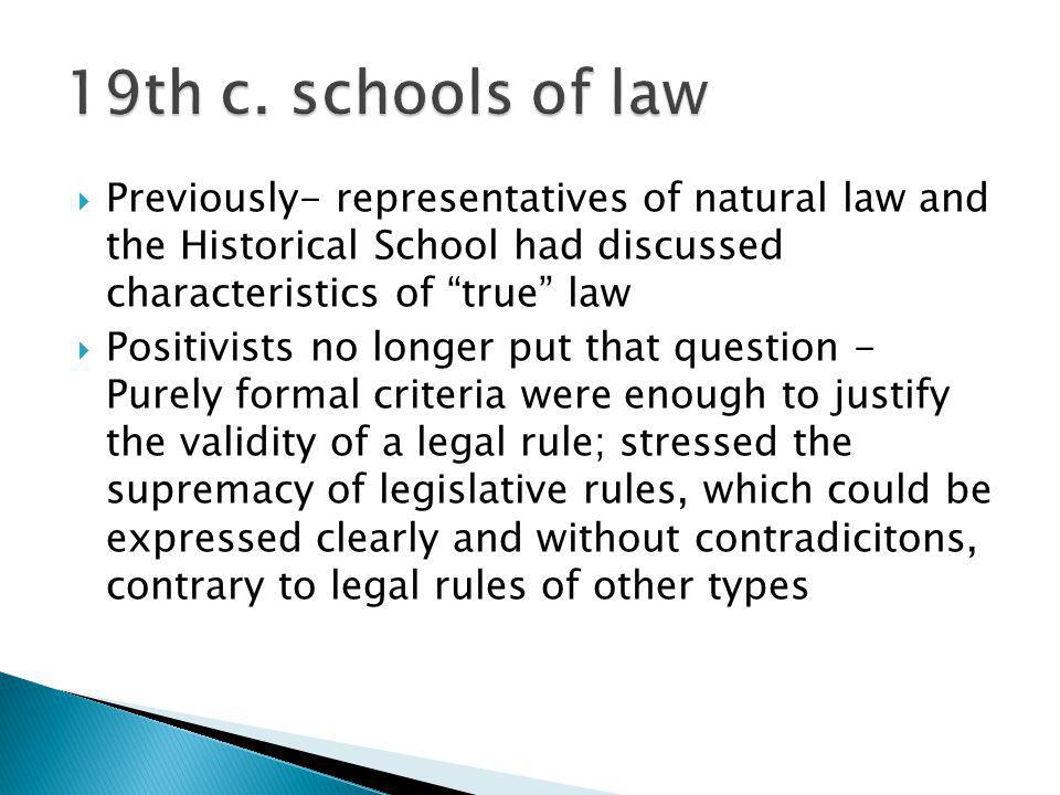Previously- representatives of natural law and the Historical School had discussed characteristics of true law Positivists no longer put that question
