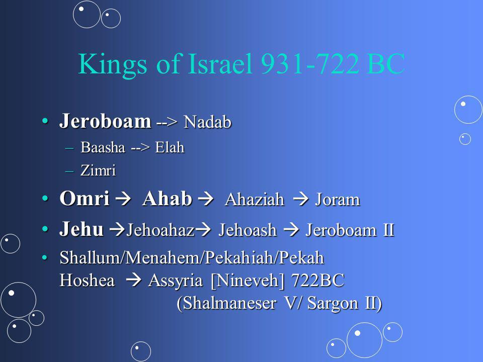 Kings of Israel 931-722 BC Jeroboam --> NadabJeroboam --> Nadab –Baasha --> Elah –Zimri Omri Ahab Ahaziah JoramOmri Ahab Ahaziah Joram Jehu Jehoahaz Jehoash Jeroboam IIJehu Jehoahaz Jehoash Jeroboam II Shallum/Menahem/Pekahiah/Pekah Hoshea Assyria [Nineveh] 722BC (Shalmaneser V/ Sargon II)Shallum/Menahem/Pekahiah/Pekah Hoshea Assyria [Nineveh] 722BC (Shalmaneser V/ Sargon II)