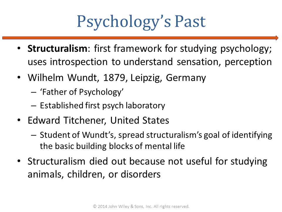 Structuralism: first framework for studying psychology; uses introspection to understand sensation, perception Wilhelm Wundt, 1879, Leipzig, Germany –