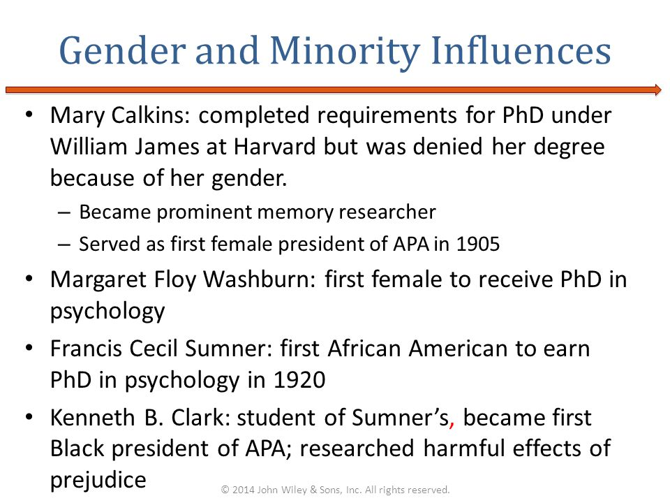 Mary Calkins: completed requirements for PhD under William James at Harvard but was denied her degree because of her gender. – Became prominent memory