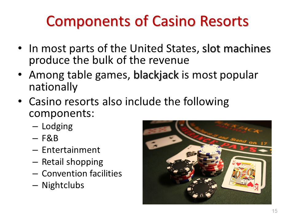 Introduction to Hospitality, 6e and Introduction to Hospitality Management, 4e - Walker © 2013 by Pearson Higher Education, Inc Upper Saddle River, New Jersey 07458 All Rights Reserved Components of Casino Resorts slot machines In most parts of the United States, slot machines produce the bulk of the revenue blackjack Among table games, blackjack is most popular nationally Casino resorts also include the following components: – Lodging – F&B – Entertainment – Retail shopping – Convention facilities – Nightclubs 15