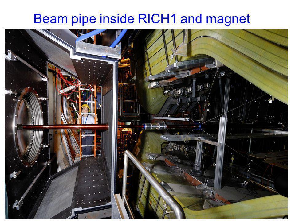 Beam pipe inside RICH1 and magnet mur de plomb PRS, SPD