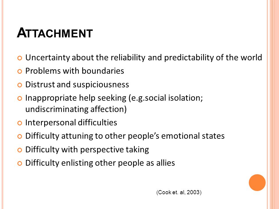 A TTACHMENT Uncertainty about the reliability and predictability of the world Problems with boundaries Distrust and suspiciousness Inappropriate help seeking (e.g.social isolation; undiscriminating affection) Interpersonal difficulties Difficulty attuning to other peoples emotional states Difficulty with perspective taking Difficulty enlisting other people as allies (Cook et.