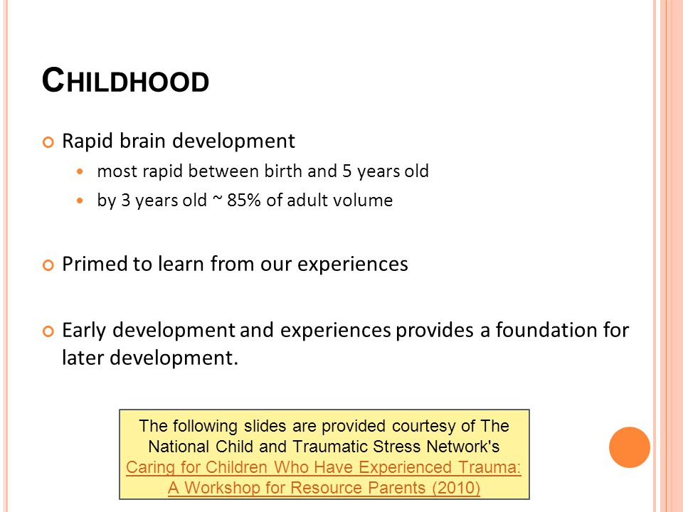 C HILDHOOD Rapid brain development most rapid between birth and 5 years old by 3 years old ~ 85% of adult volume Primed to learn from our experiences Early development and experiences provides a foundation for later development.
