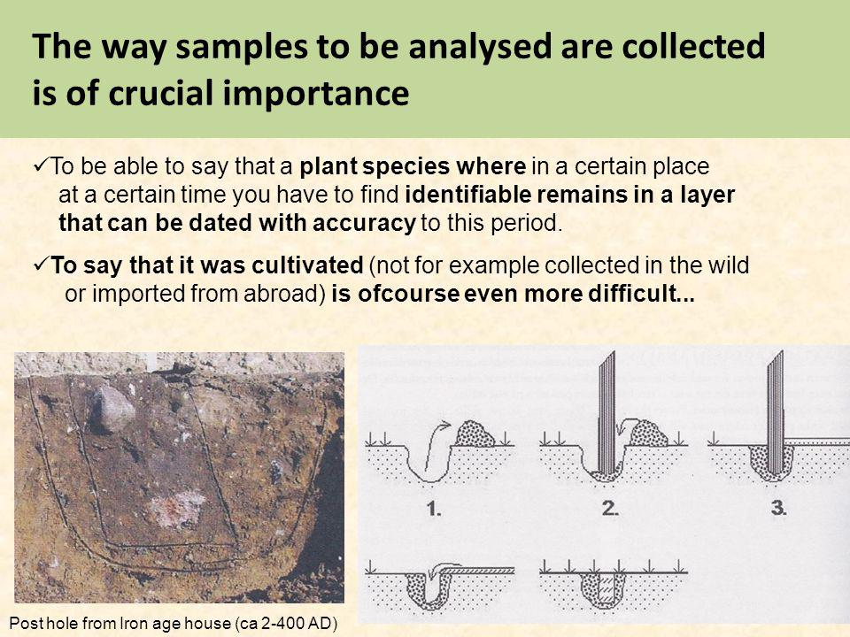The way samples to be analysed are collected is of crucial importance To be able to say that a plant species where in a certain place at a certain tim