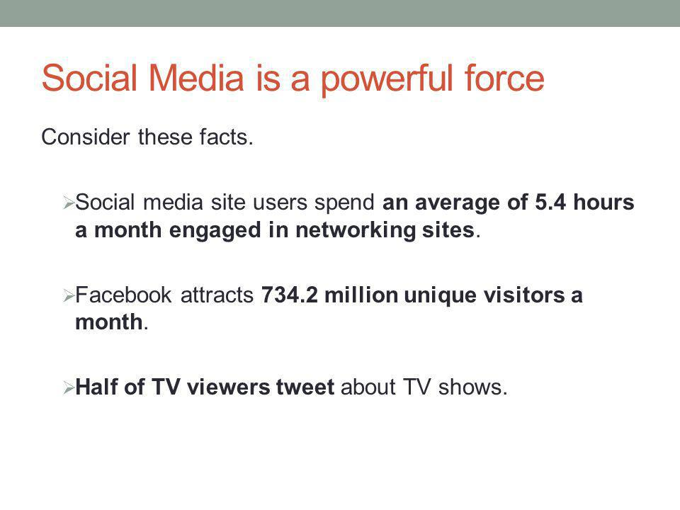 Social Media is a powerful force Consider these facts.