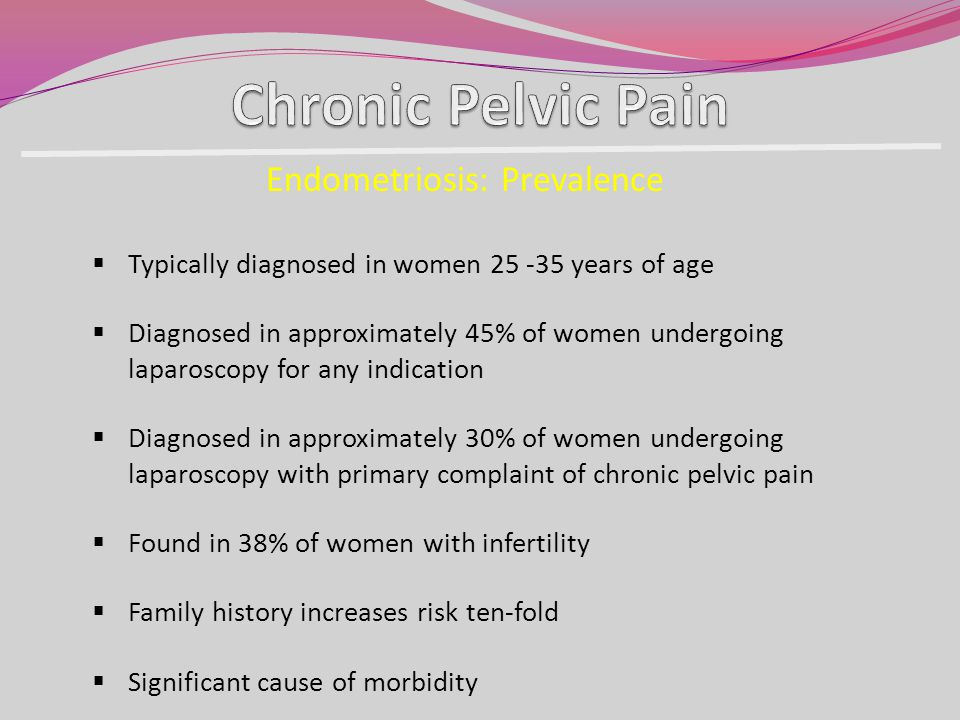 Typically diagnosed in women 25 -35 years of age Endometriosis: Prevalence Diagnosed in approximately 45% of women undergoing laparoscopy for any indi