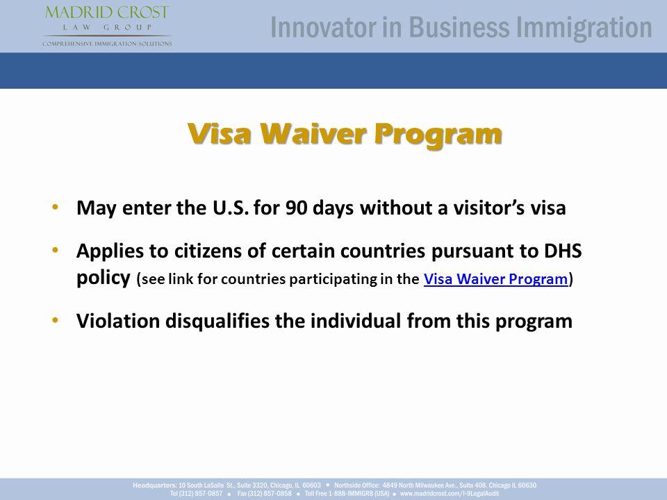 Visa Waiver Program May enter the U.S.