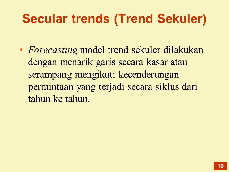 10 Secular trends (Trend Sekuler) Forecasting model trend sekuler dilakukan dengan menarik garis secara kasar atau serampang mengikuti kecenderungan permintaan yang terjadi secara siklus dari tahun ke tahun.