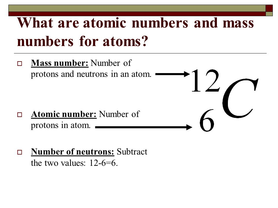 What are atomic numbers and mass numbers for atoms? Mass number: Number of protons and neutrons in an atom. Atomic number: Number of protons in atom.