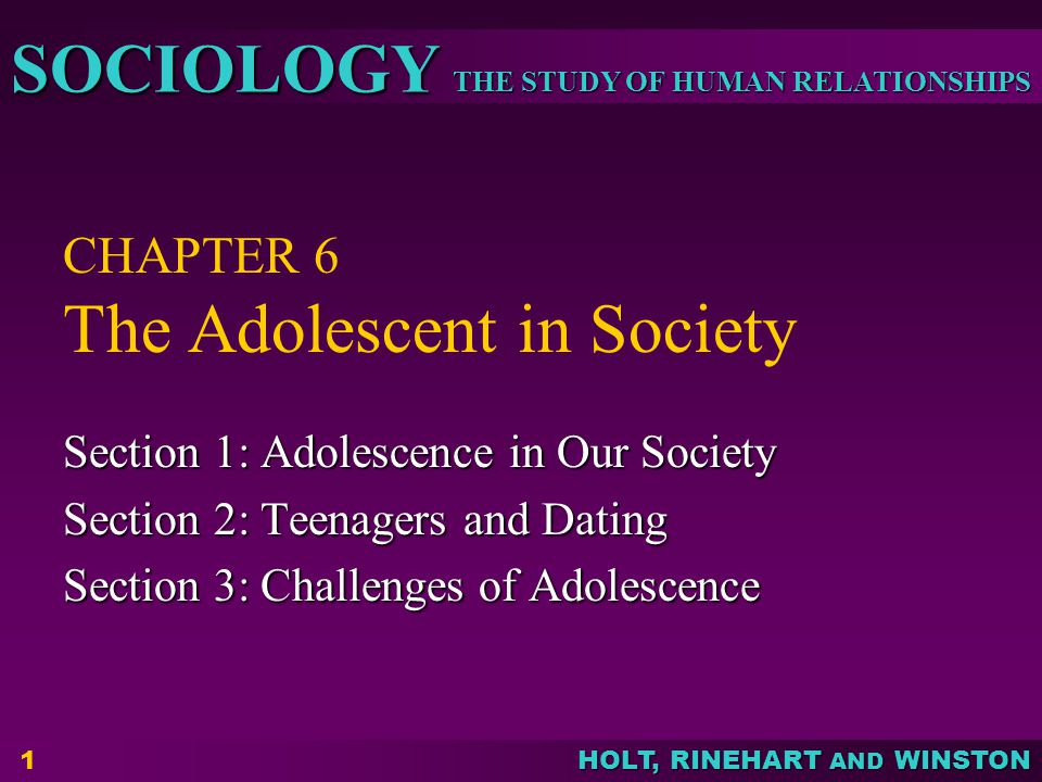 THE STUDY OF HUMAN RELATIONSHIPS SOCIOLOGY HOLT, RINEHART AND WINSTON 2 Objectives: Explain how adolescence developed as a distinct stage of the life cycle in the United States.