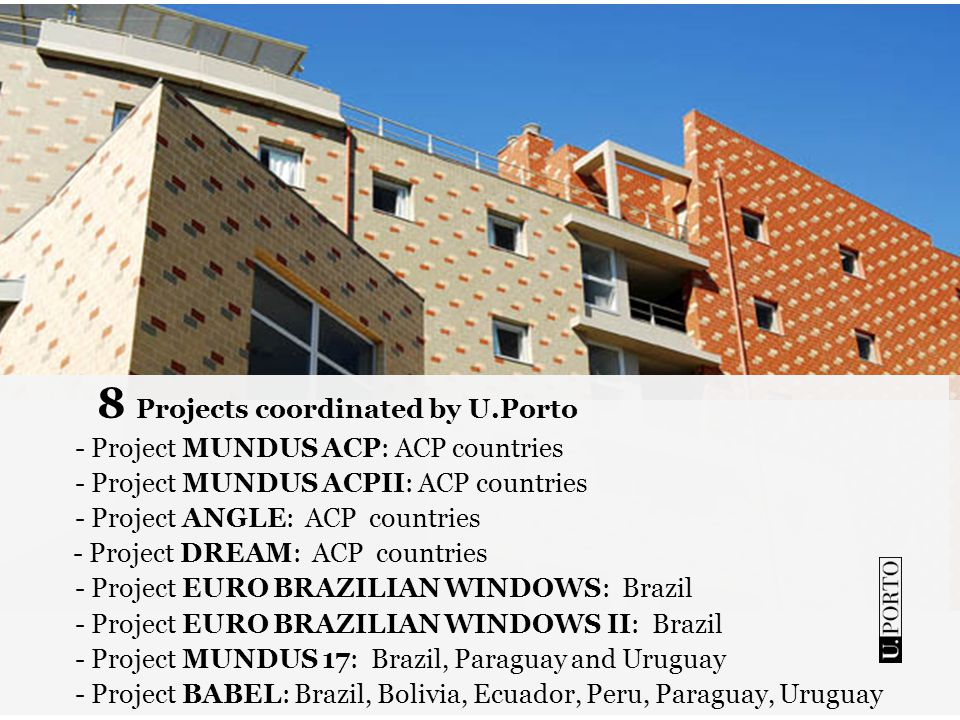 8 Projects coordinated by U.Porto - Project MUNDUS ACP: ACP countries - Project MUNDUS ACPII: ACP countries - Project ANGLE: ACP countries - Project D