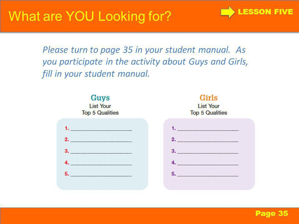 What are YOU Looking for. LESSON FIVE Page 35 Please turn to page 35 in your student manual.