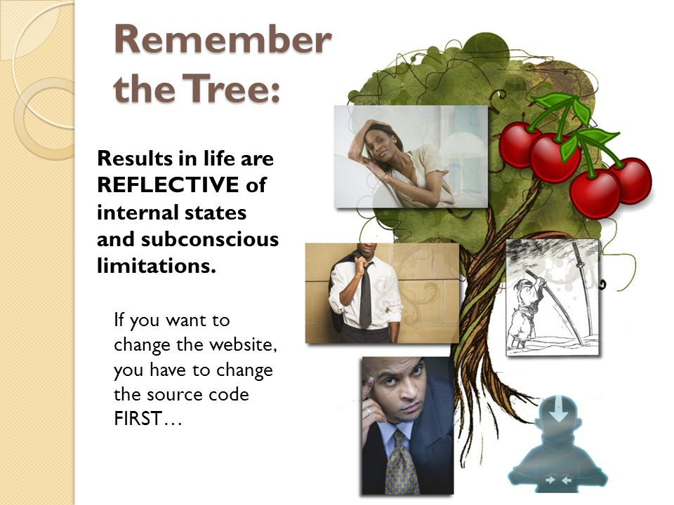 Remember the Tree: Results in life are REFLECTIVE of internal states and subconscious limitations.