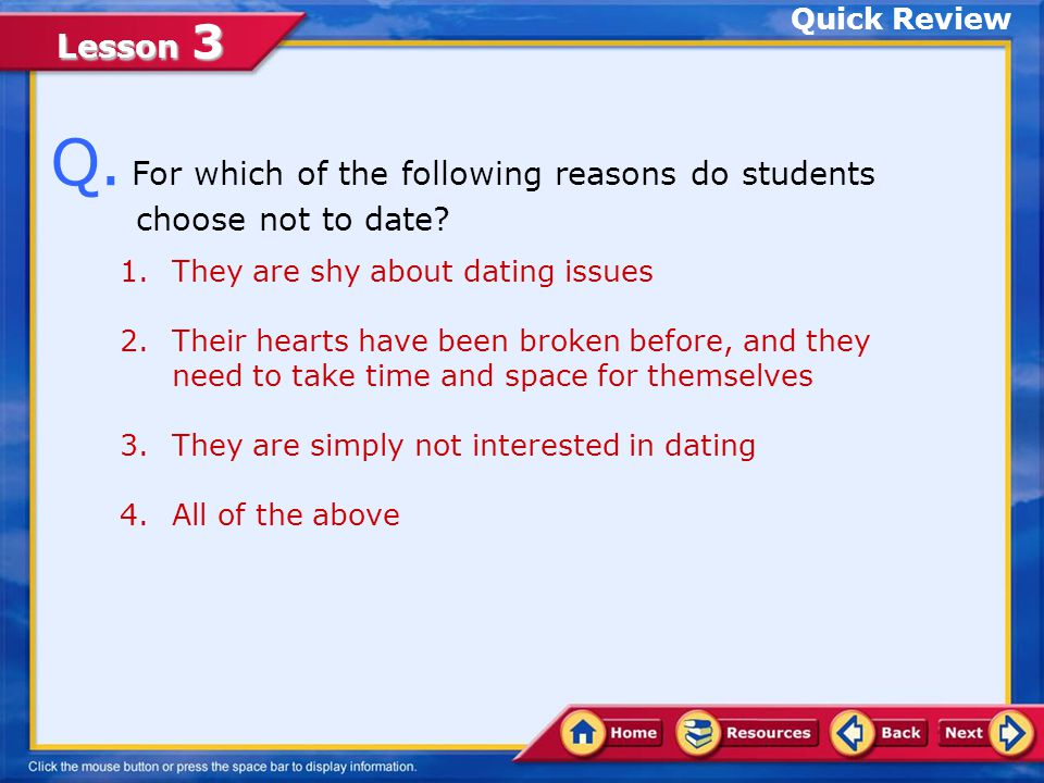 Lesson 3 Communicate your limit on sexual activity and be clear and firm about your decision to practice abstinence.