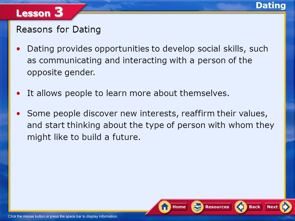 Lesson 3 Lesson Objectives Identify behavior in a dating relationship that will enhance the dignity relating to marriage Establish strategies for maintaining safe and healthy dating relationships In this lesson, you will learn to: