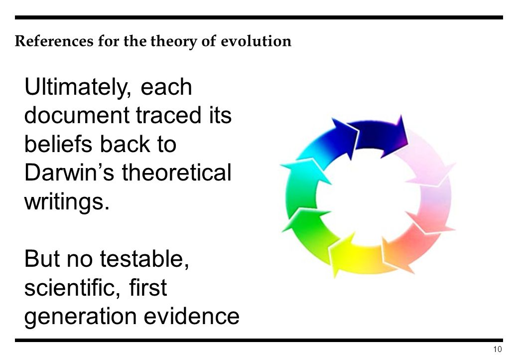 10 References for the theory of evolution Ultimately, each document traced its beliefs back to Darwins theoretical writings.