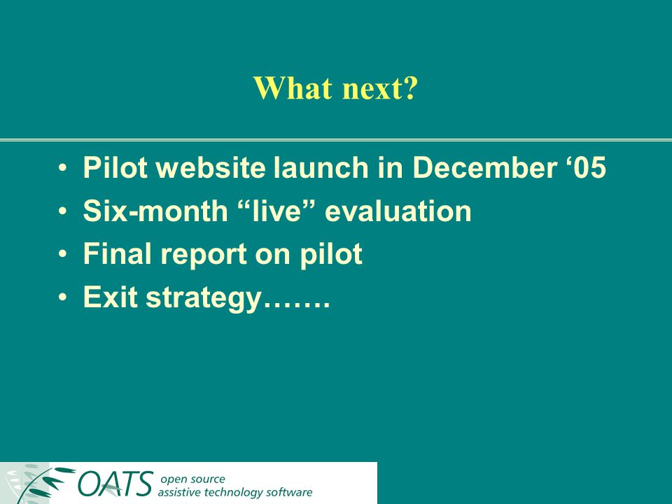 What next? Pilot website launch in December 05 Six-month live evaluation Final report on pilot Exit strategy…….