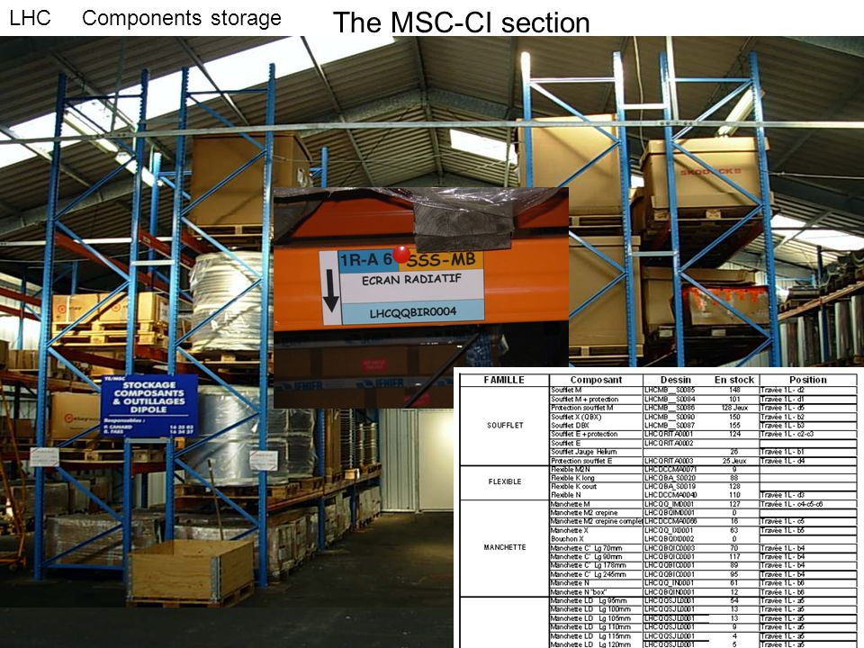 The MSC-CI section LHC Components storage