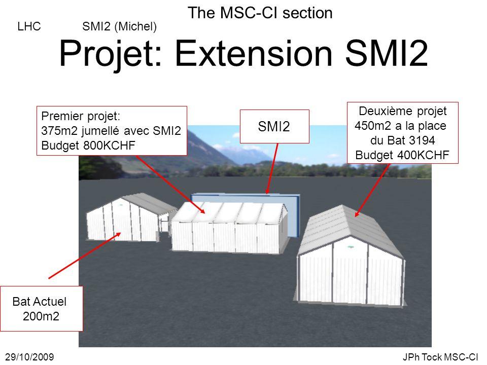 The MSC-CI section 29/10/2009JPh Tock MSC-CI LHC SMI2 (Michel) Projet: Extension SMI2 Premier projet: 375m2 jumellé avec SMI2 Budget 800KCHF SMI2 Bat Actuel 200m2 Deuxième projet 450m2 a la place du Bat 3194 Budget 400KCHF