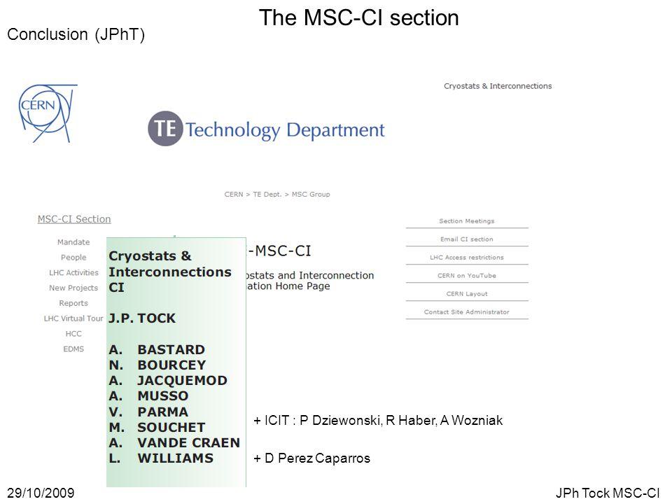 The MSC-CI section 29/10/2009JPh Tock MSC-CI Conclusion (JPhT) + ICIT : P Dziewonski, R Haber, A Wozniak + D Perez Caparros