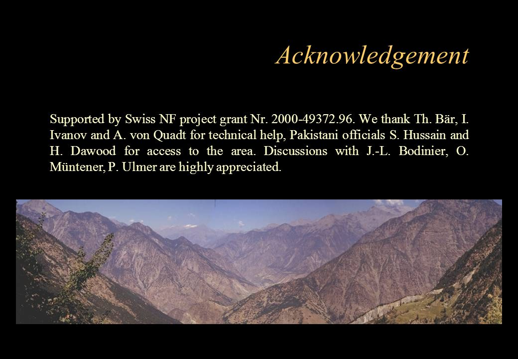 Acknowledgement Supported by Swiss NF project grant Nr. 2000-49372.96. We thank Th. Bär, I. Ivanov and A. von Quadt for technical help, Pakistani offi