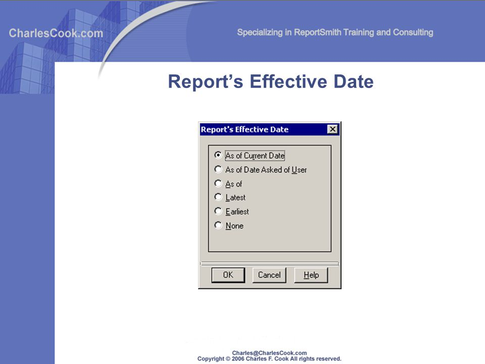 Reports Effective Date