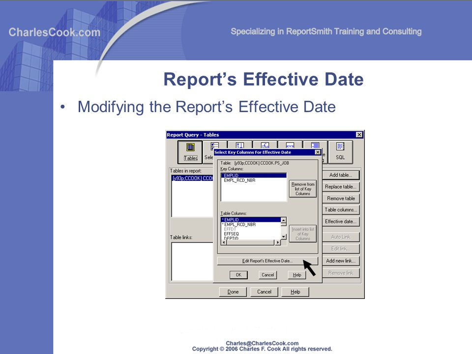 Reports Effective Date Modifying the Reports Effective Date