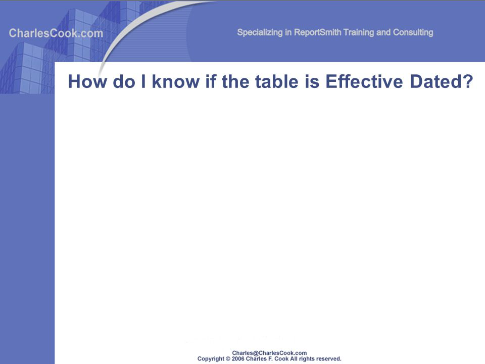 How do I know if the table is Effective Dated?