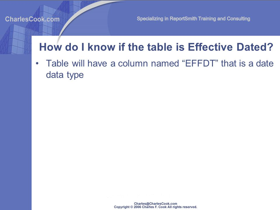 Table will have a column named EFFDT that is a date data type