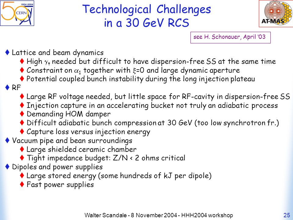 Walter Scandale - 8 November 2004 - HHH2004 workshop25 Technological Challenges in a 30 GeV RCS see H.