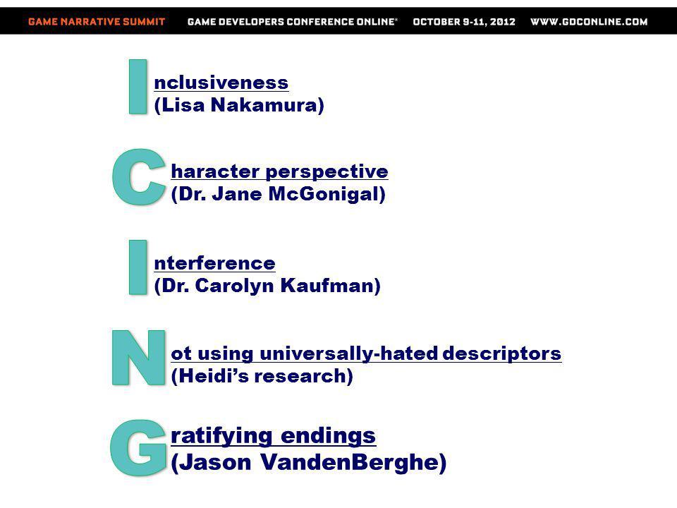 nclusiveness (Lisa Nakamura) haracter perspective (Dr. Jane McGonigal) nterference (Dr. Carolyn Kaufman) ot using universally-hated descriptors (Heidi