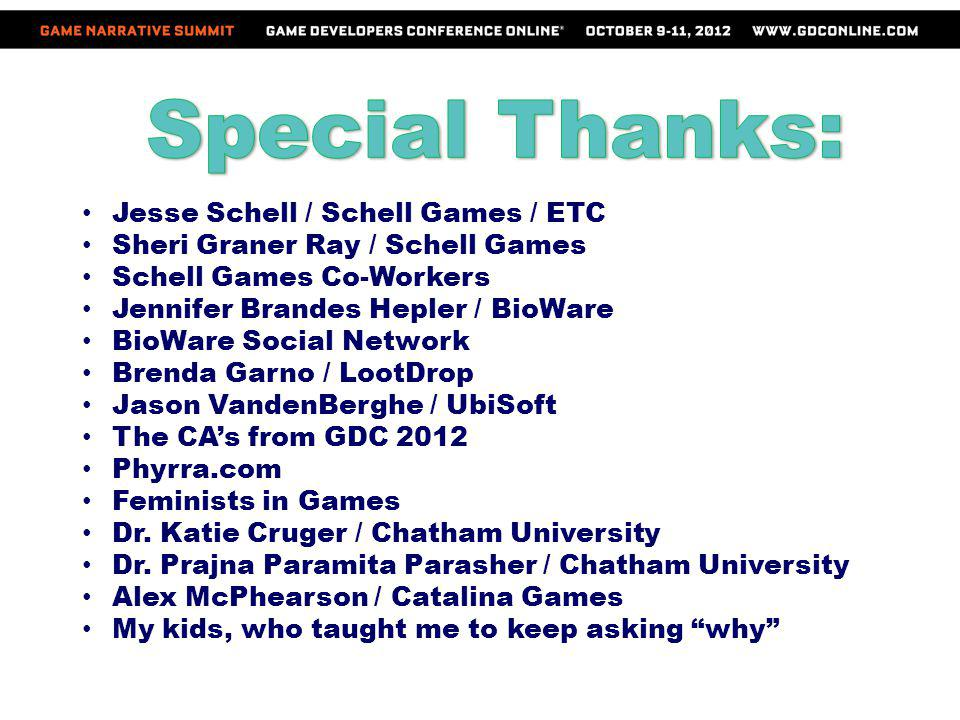 Jesse Schell / Schell Games / ETC Sheri Graner Ray / Schell Games Schell Games Co-Workers Jennifer Brandes Hepler / BioWare BioWare Social Network Bre