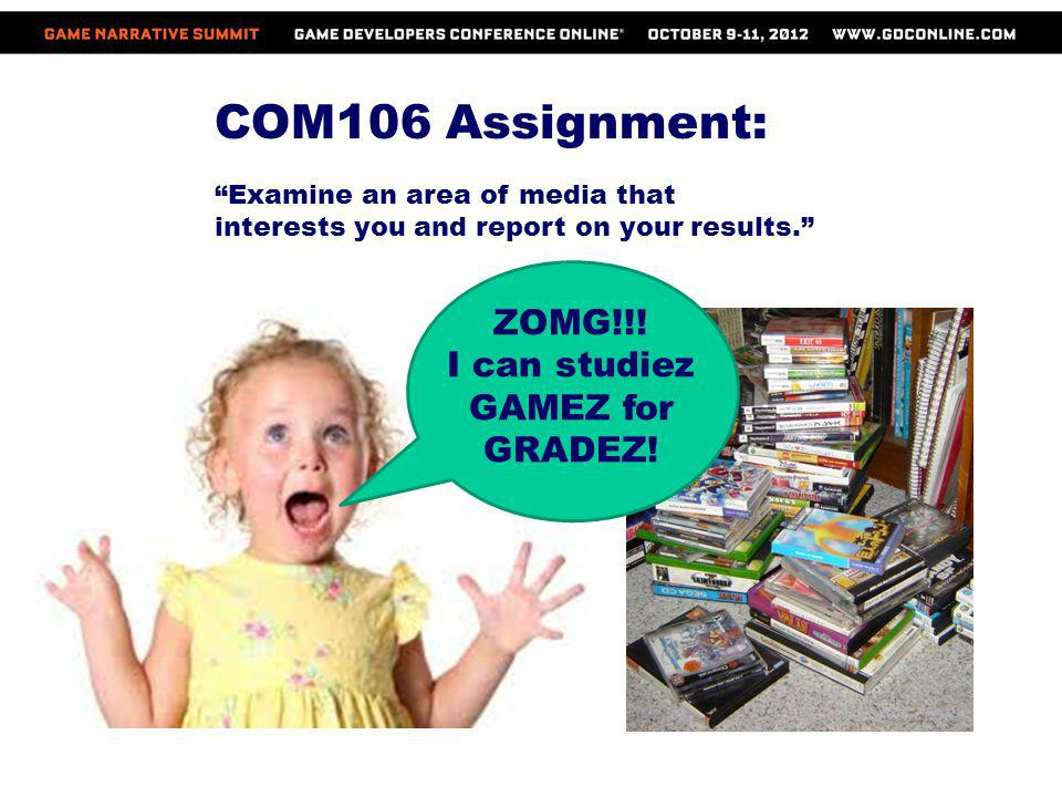 COM106 Assignment: Examine an area of media that interests you and report on your results. ZOMG!!! I can studiez GAMEZ for GRADEZ!