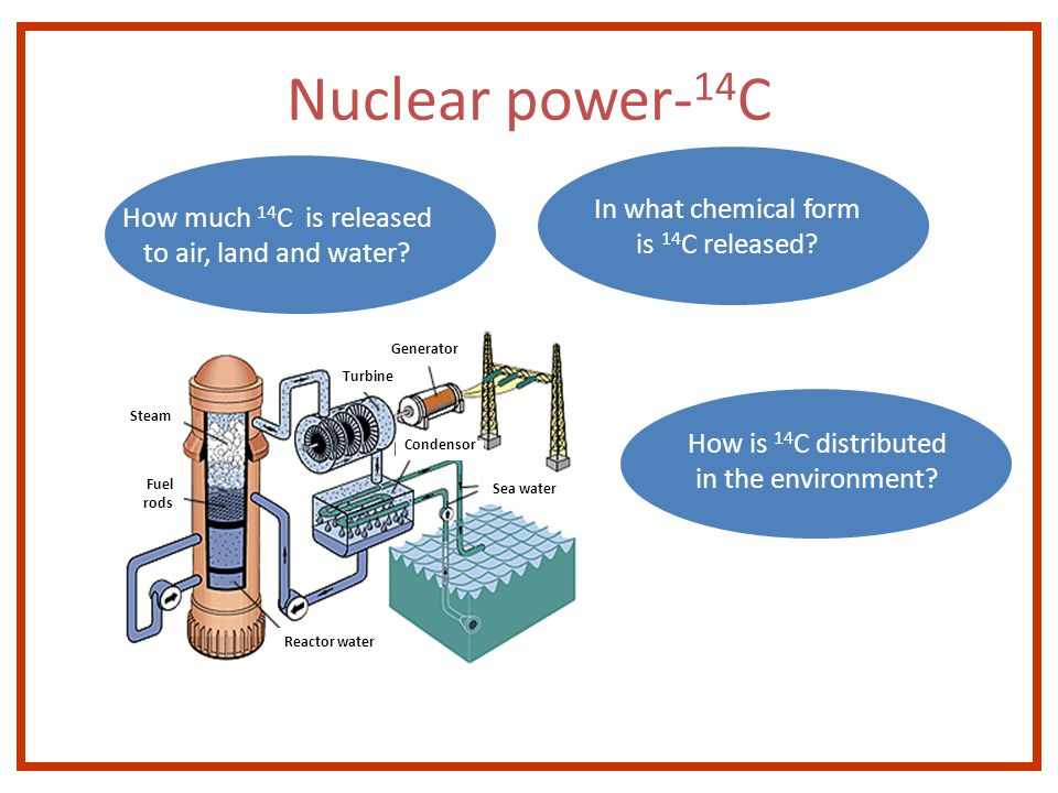 How much 14 C is released to air, land and water. In what chemical form is 14 C released.