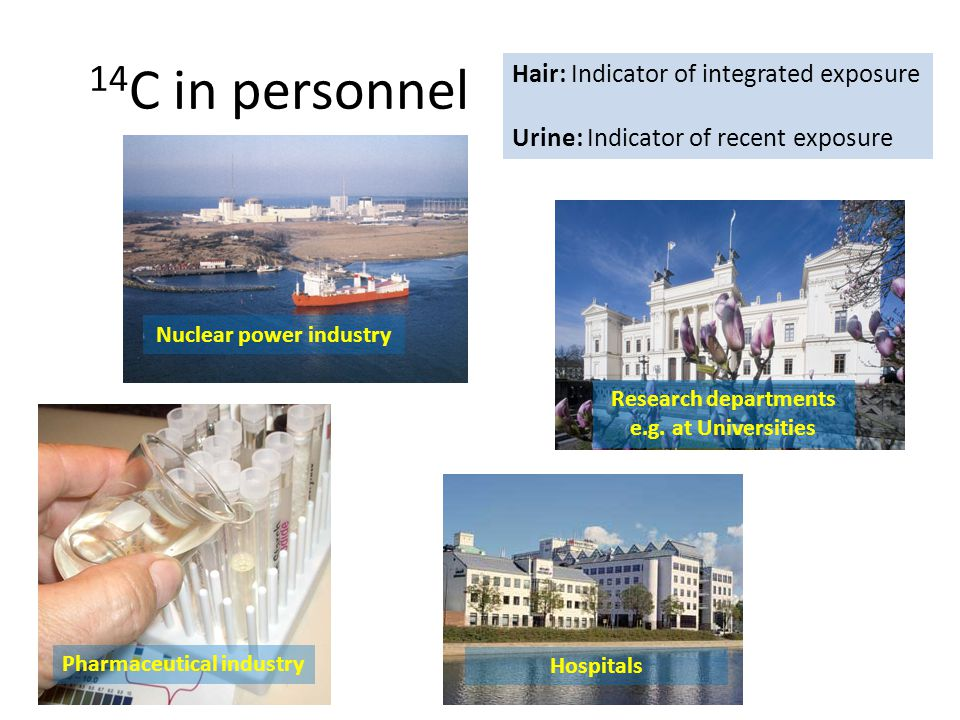 14 C in personnel Hair: Indicator of integrated exposure Urine: Indicator of recent exposure Research departments e.g.