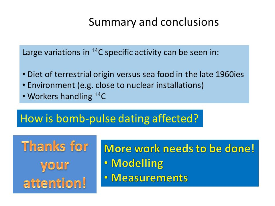 Summary and conclusions Large variations in 14 C specific activity can be seen in: Diet of terrestrial origin versus sea food in the late 1960ies Environment (e.g.