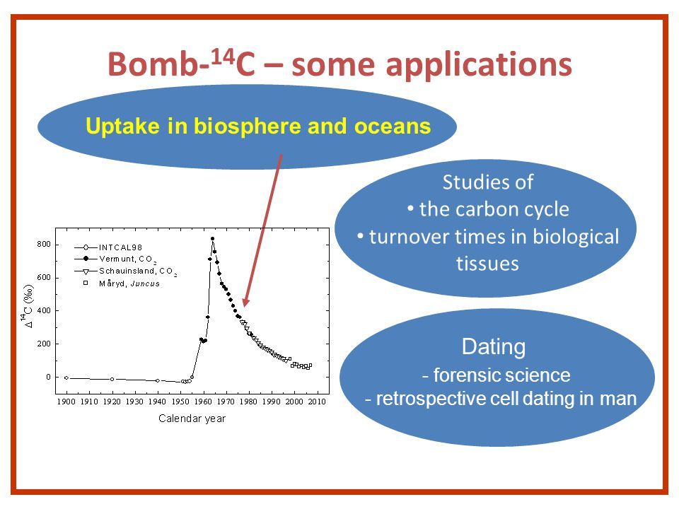 Bomb- 14 C – some applications Dating - forensic science - retrospective cell dating in man Studies of the carbon cycle turnover times in biological tissues Uptake in biosphere and oceans