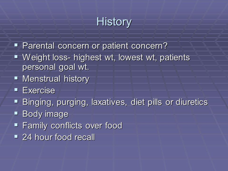 History Parental concern or patient concern? Parental concern or patient concern? Weight loss- highest wt, lowest wt, patients personal goal wt. Weigh