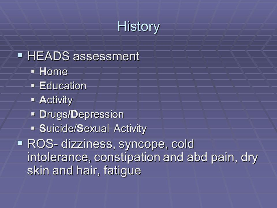 History HEADS assessment HEADS assessment Home Home Education Education Activity Activity Drugs/Depression Drugs/Depression Suicide/Sexual Activity Su