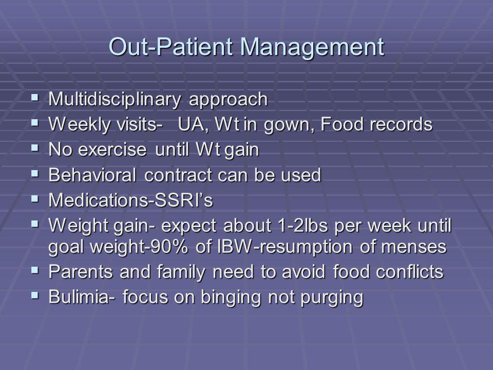 Out-Patient Management Multidisciplinary approach Multidisciplinary approach Weekly visits- UA, Wt in gown, Food records Weekly visits- UA, Wt in gown