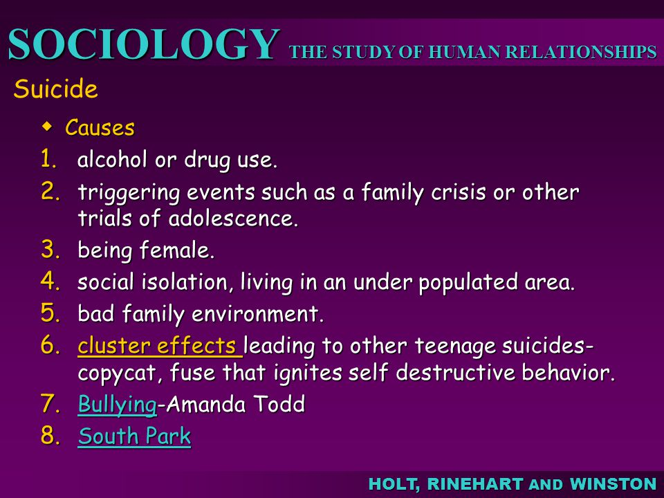 THE STUDY OF HUMAN RELATIONSHIPS SOCIOLOGY HOLT, RINEHART AND WINSTON Suicide Causes Causes 1. alcohol or drug use. 2. triggering events such as a fam