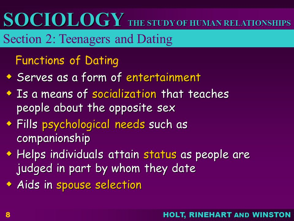 THE STUDY OF HUMAN RELATIONSHIPS SOCIOLOGY HOLT, RINEHART AND WINSTON 9 Sexual Behavior Influences Family income Parents Marital Status Religious Participation Consequence Consequence Teenage Pregnancy Teenage Pregnancy STDs such as syphilis or AIDS STDs such as syphilis or AIDS Causes and Consequences of Contemporary Problems