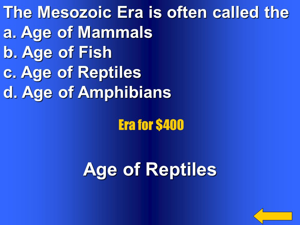 The earliest forms of life appeared during the _______________ a. Paleozoic Era. b. Cenozoic Era. c. Precambrian Time. d. Mesozoic Era c. Precambrian