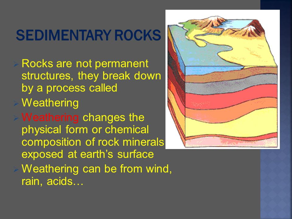 Rocks are not permanent structures, they break down by a process called Weathering Weathering changes the physical form or chemical composition of roc