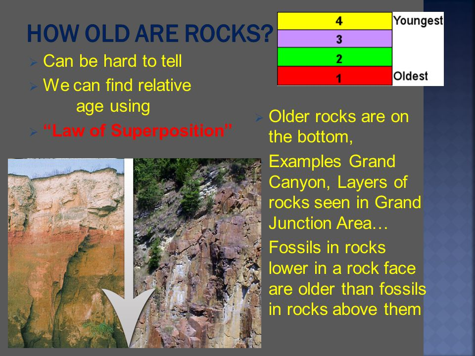 Can be hard to tell We can find relative age using Law of Superposition Older rocks are on the bottom, Examples Grand Canyon, Layers of rocks seen in