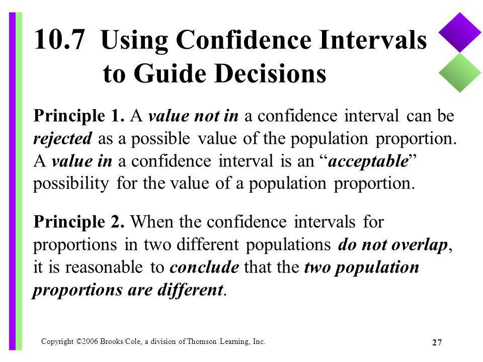 Copyright ©2006 Brooks/Cole, a division of Thomson Learning, Inc. 27 Principle 1. A value not in a confidence interval can be rejected as a possible v